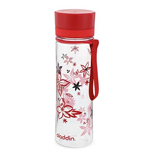 Aladdin Aveo Water Bottle 0.6L Red Floral Print – Weite Öffnung für leichte Befüllung - Auslaufsicher - BPA-Frei - Glatte Trinktülle - Geruchs- und Fleckenfest - Spülmaschinenfest