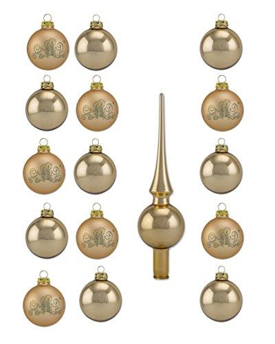 Thüringer Glas Design Christbaumschmuck, Gold, 16-Teilig Uni, Deko, Spitze