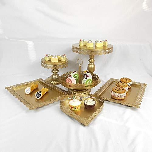 FGHYUJY Cupcake Boda 6 Piezas/Set Postre Metal Cristal Fruta 1 Nivel al por Mayor Redondo decoración Oro Blanco Rosa Pastel Soporte