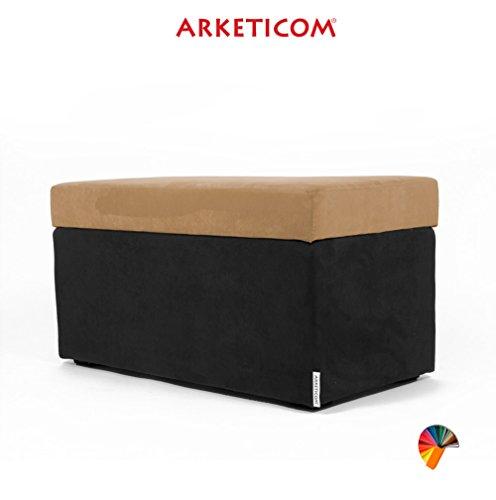 NEUF!!! Arketicom PANDORA Pouf de Rangement Cube CONTAINER Puff Repose-pieds Rembourré Banc Design Tissu Moderne MICROFIBRE Fabriqué à la Main en Italie, Structure bois Massif, Assis PU Coffre Box (Camel, 84 x 42 x 42h)