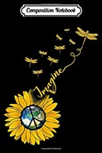 Composition Notebook: Imagine Sunflower Dragonflies Earth Peace Sign  Journal/Notebook Blank Lined Ruled 6x9 100 Pages