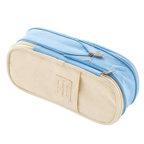 Rolin Roly Pencil Case Large Capacity Pen Pouch Bag Zipper Makeup Bag for Student (Light Blue)
