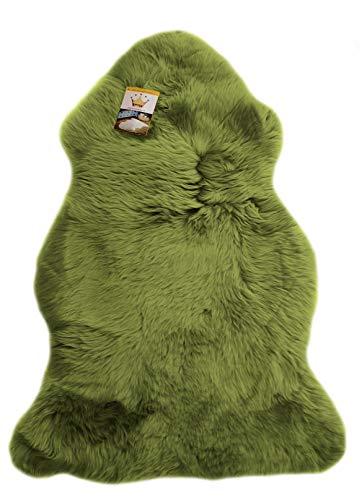 Reissner Lammfelle Schaffell Finn Naturform hoch-/langfloriger Teppich Couchauflage Bettvorleger (95cm auf der Lederseite entspricht ca. 115cm diagonal Fellseite) grün 95cm
