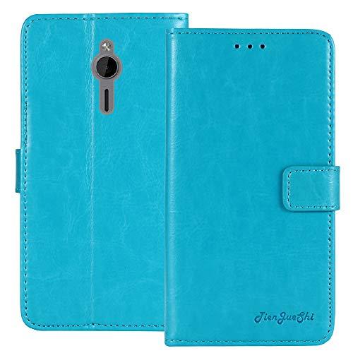 TienJueShi Blau Flip Book-Style Brief Leder Tasche Schutz Hulle Handy Hülle Abdeckung Fall Wallet Cover Etui TPU Silikon Fur Nokia 230 2.8 inch