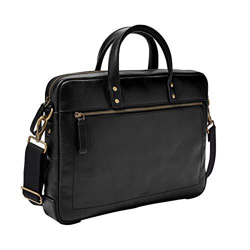 Fossil Men's Haskel Zip Leather Briefcase Bag, Black
