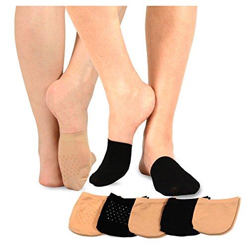 TeeHee Womens Seamless Toe Topper Liner Socks 5-Pack with Non-Skid Bottom (Pale Beige-Black)