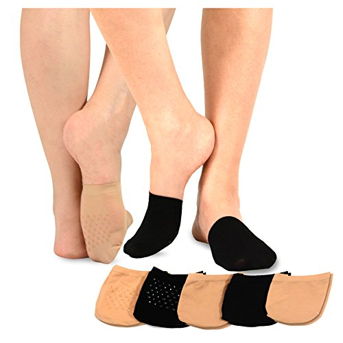 TeeHee Womens Seamless Toe Topper Liner Socks 5-Pack with Non-Skid Bottom (Pale Beige-Black)