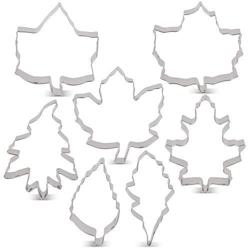 LILIAO Leaf Cookie Cutter Set - 7 Piece - Maple Leaf A & B, Rose Leaf, Ivy Leaf, Oak Leaf A, B & C - Stainless Steel