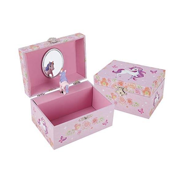 TAOPU Sweet Musical Jewelry Box with Spinning Cute Unicorn Figurines Music Box Jewel Storage Case for Girls 3