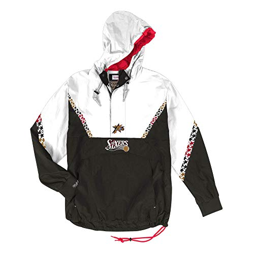 Mitchell & Ness Philadelphia 76ers Half Zip Team Colour Anorak Jacket Windbreaker NBA HWC Jacke