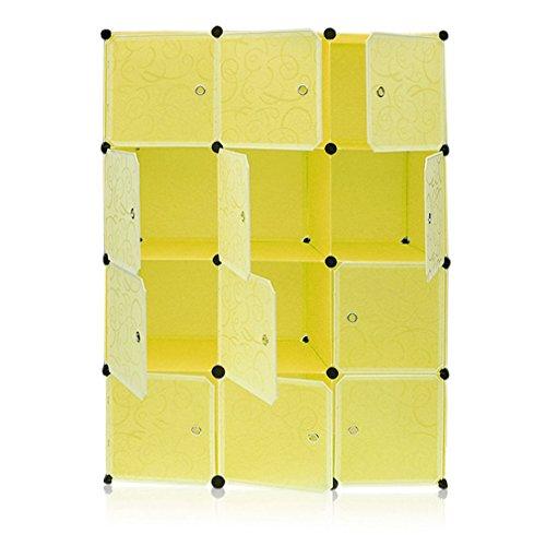 Kleiderschrank Einfache Harz Aufbewahrungsbox Regalsystem mit 12 Fächern Schuhregal aus Kunststoff mit Türen Steckregal für Kleidung Schuhe Spielzeug und Bücher (Gelb)