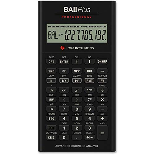 Texas Instruments IIBAPRO/TBL/1L1 BA II Plus Professional Financial Calculator (Renewed)