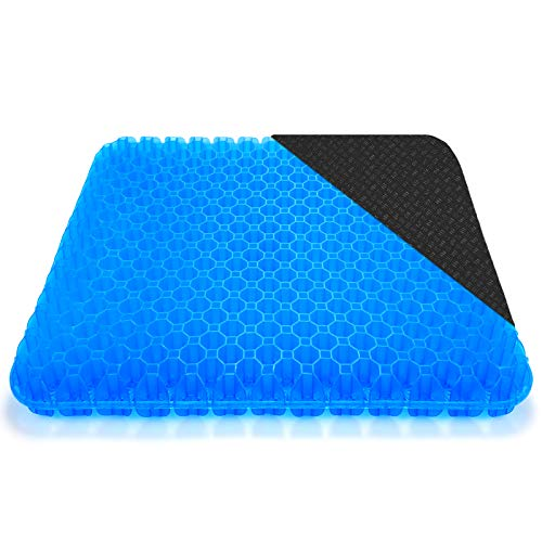 2021 New Octagonal X-Large Gel Seat Cushion, Honeycomb Design Double Thick Egg Gel Cushion with Relieving Back coccyx Pain Pressure for Car Office Home Wheelchair&Chair (with Non-slip Seat Cover)