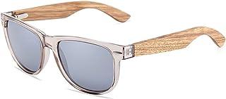 نظارات شمسية من الخشب الحقيقي بعدسة مستقطبة بطبقة خضراء فضية 100% حماية من الاشعة فوق البنفسجية فئةA وB للرجال والنساء