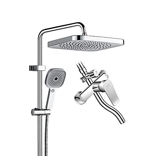 Juego de ducha presurizado, sistema de ducha de cromo expuesto con cabeza de ducha de lluvia ajustable de ángulo y 4 duchas de espray a mano, con interruptor de salida de agua giratoria de 3 controles
