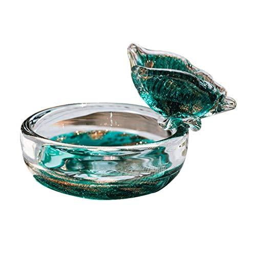 Cenicero Vidrio azul de pavo real Asegurador de cenicero de ceniza de cenizas para la oficina de la mesa de la mesa de la mesa de escritorio de la mesa de la oficina de la oficina de la oficina de la