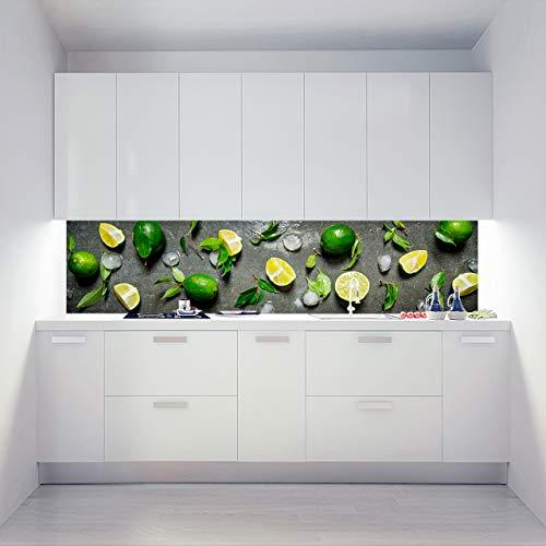 Küchenrückwand Alu Verbundplatten als Einzelplatte oder Plattenset für Eck und U-Form Küchen Zuschnitt auf Maß - Motiv Chilled Limes