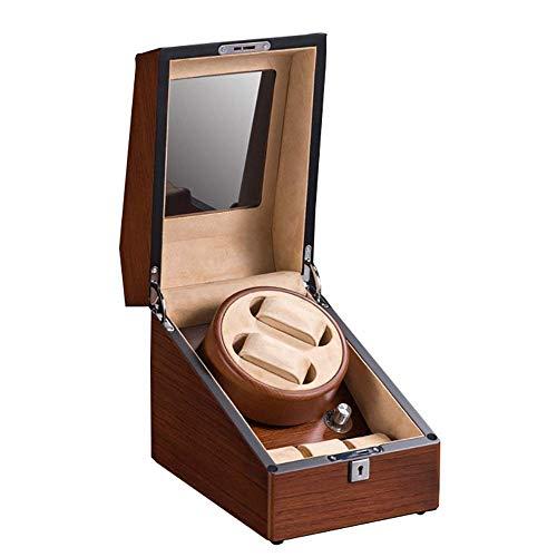 Horloges opslag vitrine Box Automatische Double Horlogebeweger met Quiet Mabuchi motor 18.5x18.5x19cm Brownb