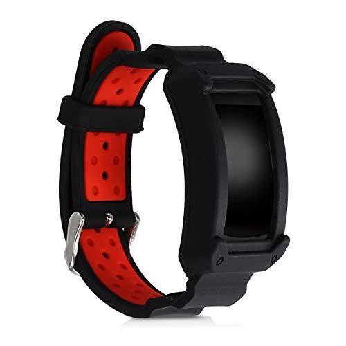kwmobile Pulsera Compatible con Samsung Gear Fit2 / Gear Fit 2 Pro - Brazalete de Silicona sin Fitness Tracker en Negro/Rojo