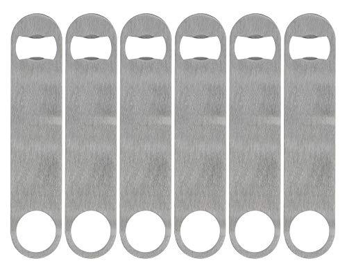 KISEER Heavy Duty Stainless Steel Flat Bottle Opener, 6 Pack Beer Bottle Opener for Kitchen, Bar or Restaurant