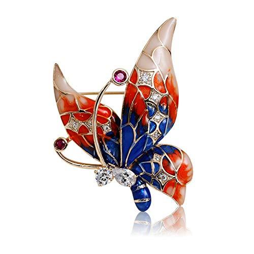 J.MeMi'S Broches de Mujer Mariposa Elegante Circón Decoración Ropa Regalo Moda Diamante Joyería Accesorios para Madre Amigo Novia,Red