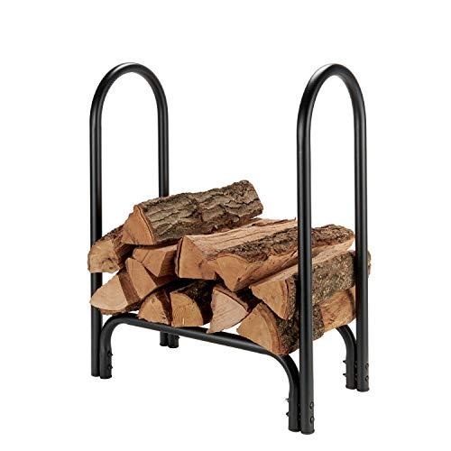 Shelter SLRS Firewood Storage Log Rack/Holder, Holds 1/4 Face Cord, Powder Coated Heavy Duty 1.25' Tubular Steel, Small (28' L x 12' D x 33' H), Black
