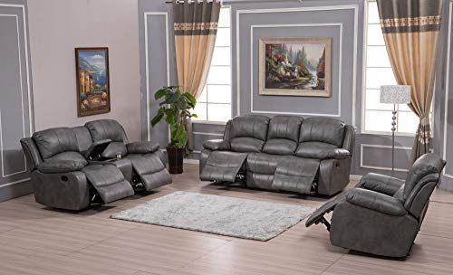 Betsy Furniture 3PC Bonded Leather Recliner Set Living Room Set, Sofa Loveseat Chair Pillow Top Backrest and Armrests 8018 (Grey, Living Room Set 3+2+1)