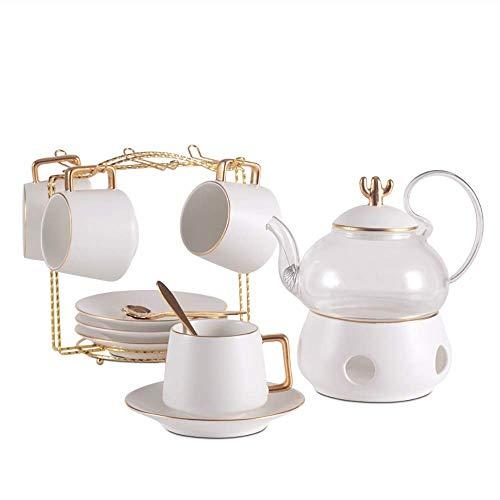 NOSSON Teesets für Erwachsene Modernes, einfaches Haushalts-Teeset Glastopf Körper Golden Outline Light Nachmittagstee oder Kaffee-Teeservice, Schlafzimmer Cafe Party