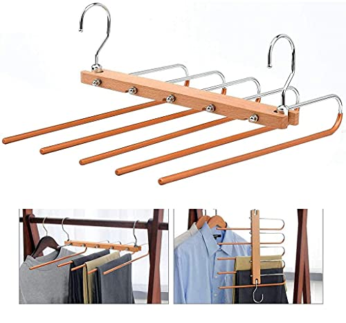 5-in-1 Multifunctional Folding Magic Wardrobe Trouser Rack for Storing Scarves, Jeans, Towels and Bath Towels, Retractable Multi-Layer Household Hangers, Hooks and Trouser Clips for Mobile Storage