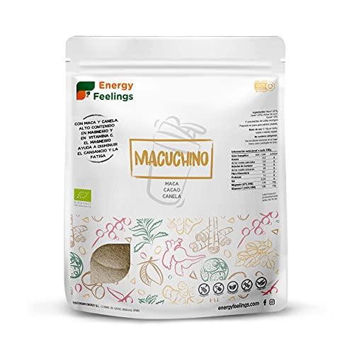 Energy Feelings Macuchino   Maca con Cacao y Canela   Vigorizante y Energizante Natural   Rico de Vitaminas para mejorar la Concentración   Maca Andina y Cacao en Polvo Ecológicos   Pack 500g