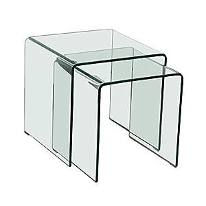 Glastisch 2tlg ausziehbar Wohn Ess Zimmer Küche Glas Tisch TV Beistelltisch B154076