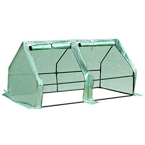 Outsunny Invernadero de Jardín Terraza Vivero para Huerto Plantas con Puertas Color Verde Tubo de Acero PE 180x90x90 cm