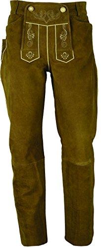Lederhose lang Herren/Damen- Trachten Lederhose lang in echt Leder festem Nubuk, Bayerische Lederhose in Camel (39, Hellbraun)