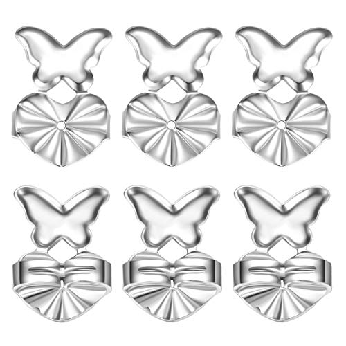 Fomissky Magic Earring Backs for Droopy Ears As Seen On TV, 3 Pairs Butterfly Earring Lifters Secure Earing Backs Replacements for Heavy Earrings