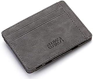 محفظة جلد صغيرة للبطاقات والنقود الورقية والمعدنية لون رمادي