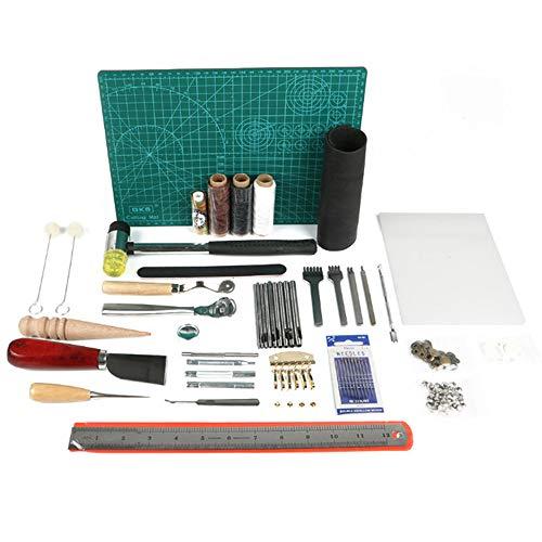 レザークラフト 工具 道具セット 61点 初心者キット レザーツール ステッチンググルーバー ネジ捻り 革工具セット 革細工・DIY・手作り 縫製キット
