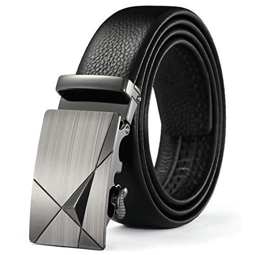 Xme Cinturón de cuero para hombre con cinturón de negocios con hebilla automática, cinturón suave de piel de vacuno de primera capa para hombre