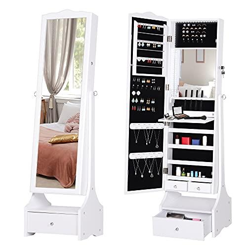 HOMCOM Espejo Joyero de Pie Armario de Joyería con Luces LED Cerradura Cajones Espejo y Mesa Interior Abatible para Comésticos 45x36x150cm