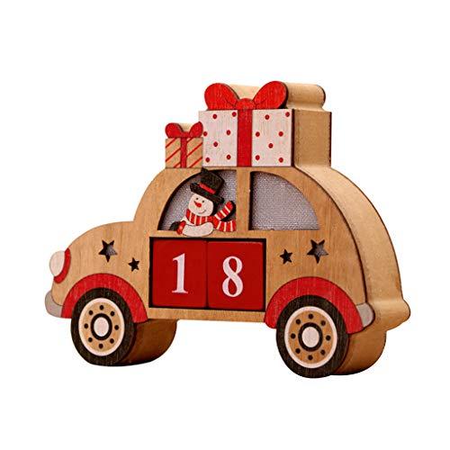 Weihnachtshölzerner Advent Countdown Calendar, LED-Automuster Mit Gemalten Blöcken