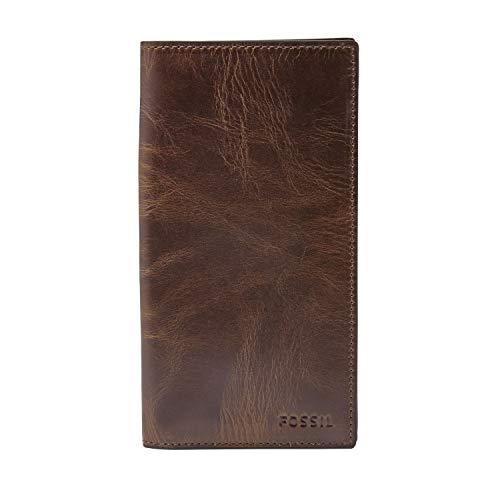 Fossil Men's Derrick Leather Checkbook Wallet, Dark Brown