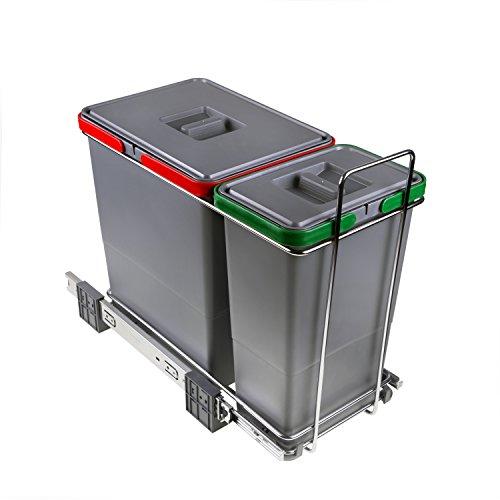 ELLETIPI Ecofil PF0134A1Mülleimer Mülltrennung, ausziehbar für Base, Kunststoff und Metall, Grau, 23x 45x 36cm