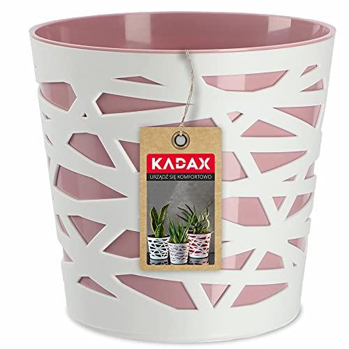 KADAX Blumentopf, Übertopf, runder Pflanztopf aus Kunststoff, Pflanzkübel für Blumen, Pflanzen, Balkon, Blumenkübel für Innen, leichtes Pflanzgefäß, moderner Blumenübertopf (17cm, Rosa)