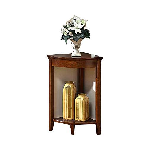 HANSHAN Küchentische Beistelltisch Holz Eckzarge Dreiecksregal Blumenständer Lagerregal Eckzarge Wohnzimmer Schlafzimmer Eckzarge fächerförmig (weiß und braun) Tablet-Halter