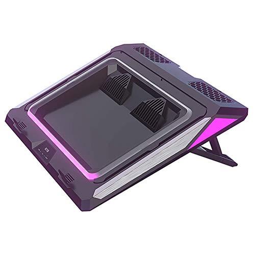 Jaimenalin IETS GT300 Doble Soplador Laptop Cooling Pad para el Juego PortáTil, un CojíN MáS Fresco con Filtro de Polvo y Luces de Colores