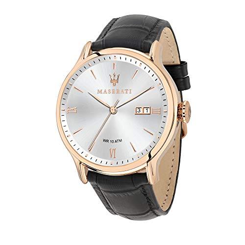 Orologio da uomo, Collezione Epoca, movimento al quarzo, tempo e data, in acciaio, PVD oro rosa e cuoio - R8851118008