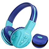 SIMOLIO Foldable Wireless Bluetooth on-Ear Headset with AUX, Kids Headphone with 3 Levels Volume Limited Hearing Protection and Sharing Jack for Children, Girls, Boys, Teens, Adults (Mint) bluetooth headset iphones May, 2021