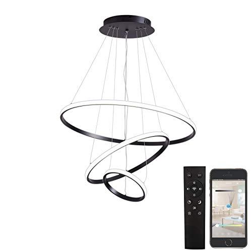 3 Ringe LED-Pendelleuchte, Fernbedienung, Helligkeit dimmbar, 3000-6500K,20 + 40 + 60CM, moderne, bündige Deckenleuchte für Wohnzimmer, Esszimmer, Schlafzimmer