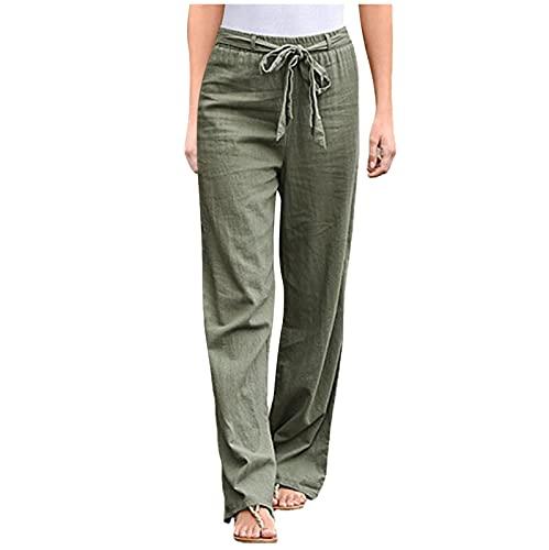 Linen Pants for Women Golf Pants Stretch Lightweight Cotton Linen Wide Leg 2021 Summer Pants Elastic Drawstring Trousers