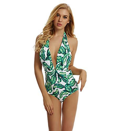 One Pieces zwemkleding voor dames, badpak, digitale print retro blad badkleding, hoge elastische open rug riem borstkussen, zonder stijve ondersteuning, geschikt om te zwemmen
