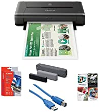 Canon PIXMA iP110 Wireless Mobile Inkjet Color Photo Printer - Bundle with PC Software Package, LK62 Portable Battery Kit, Matte Photo Paper (4x6) 20 Sheets, USB Printer Cable